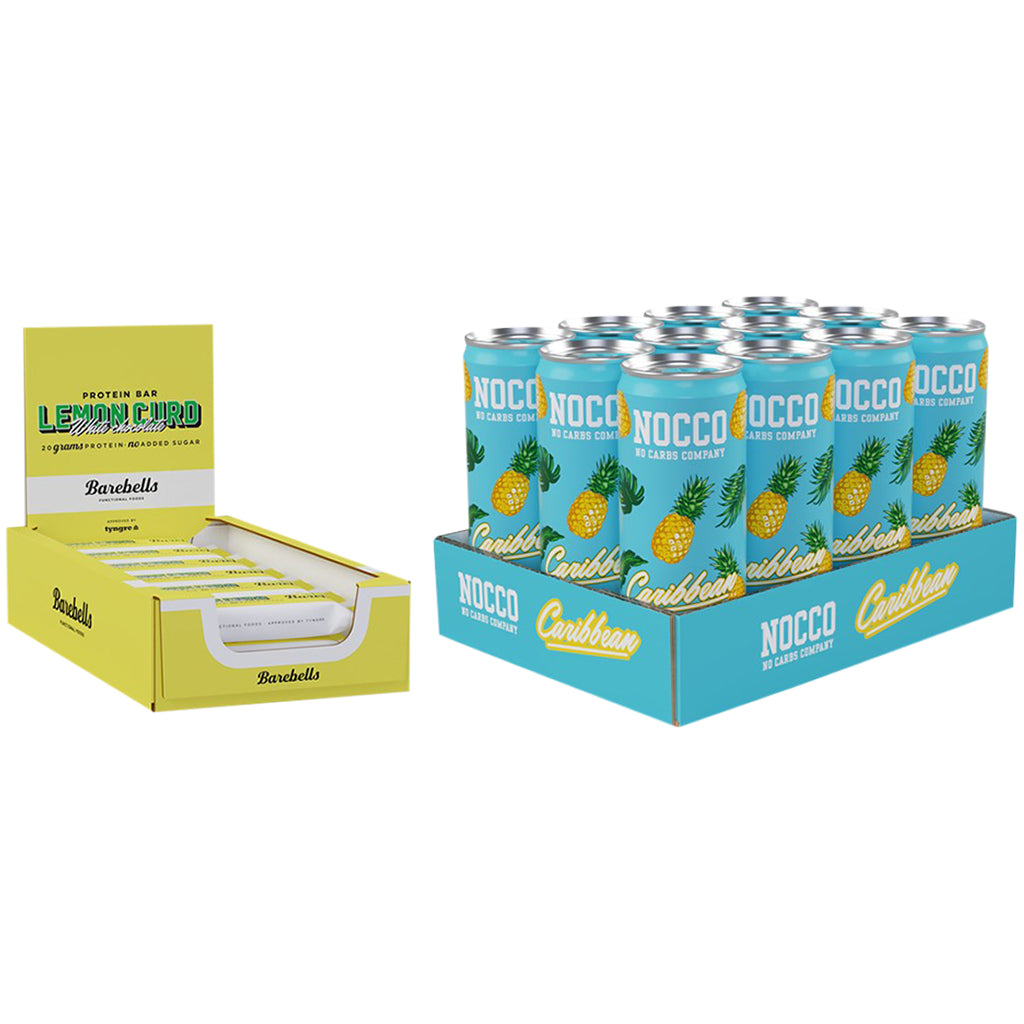 Nocco Caribbean & Barebells Lemon Curd Bar 12 Pack Bundle