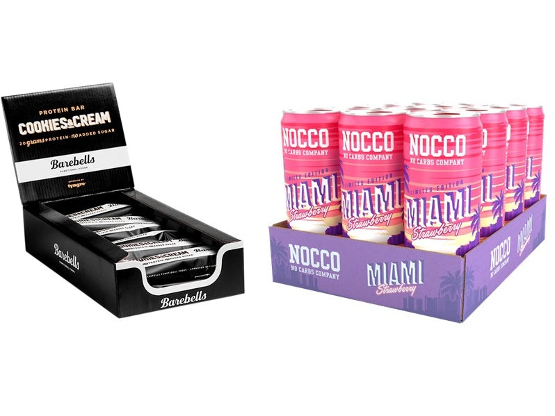 Nocco Miami Strawberry & Barebells Cookies & Cream Bar 12 Pack Bundle