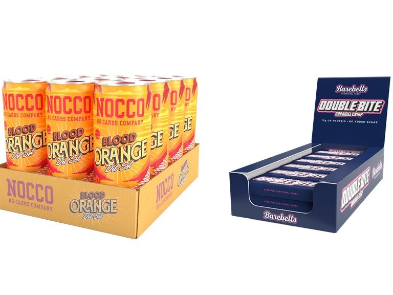 Copy of Nocco Blood Orange Del Sol & Barebells Double Bite Caramel Crisp 12 Pack Bundle