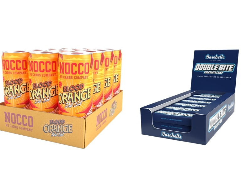 Nocco Blood Orange Del Sol & Barebells Double Bite Chocolate Crisp 12 Pack Bundle