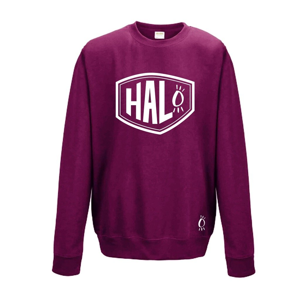 Halo White Shield Burgundy Crew Neck Sweatshirt