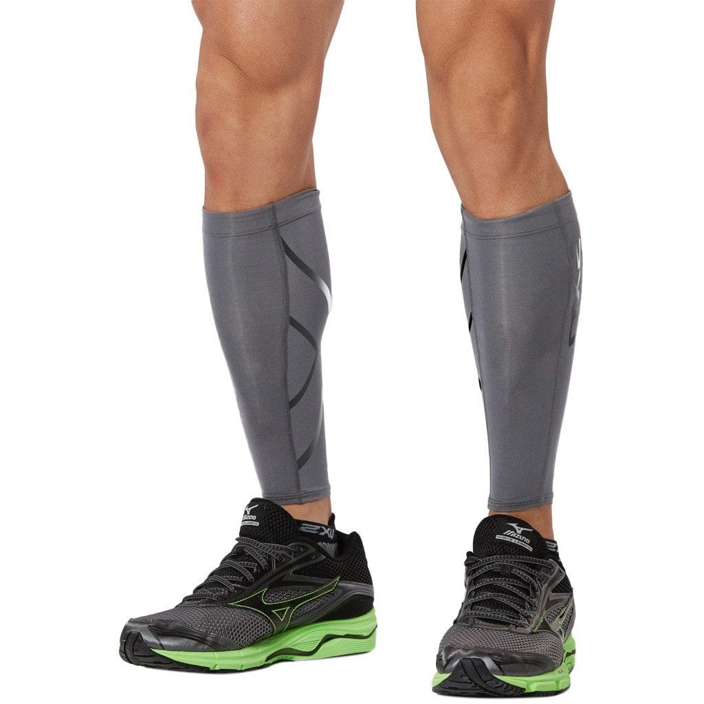 Compression Clothing - 2XU Compression Calf Guard Steel/Black Reflective