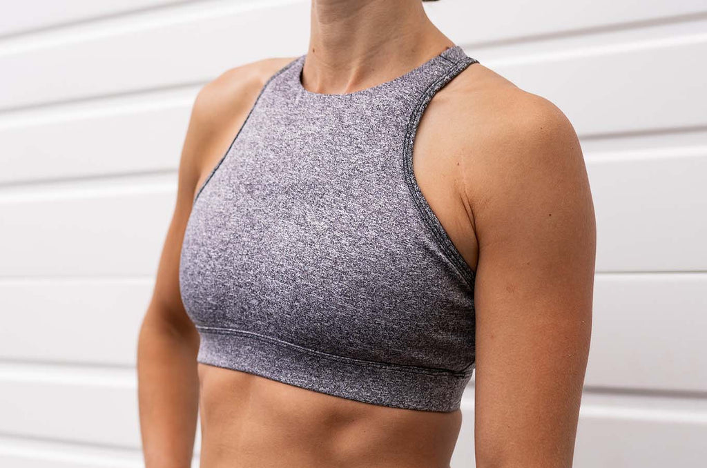 Chestee The T - Heathered Grey Sports Bra