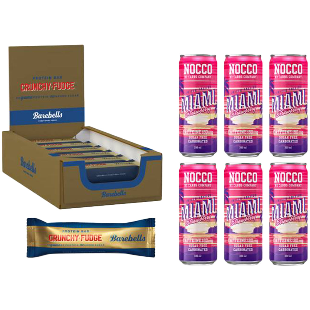 Nocco Miami Strawberry & Barebells Crunchy Fudge Bar Bundle