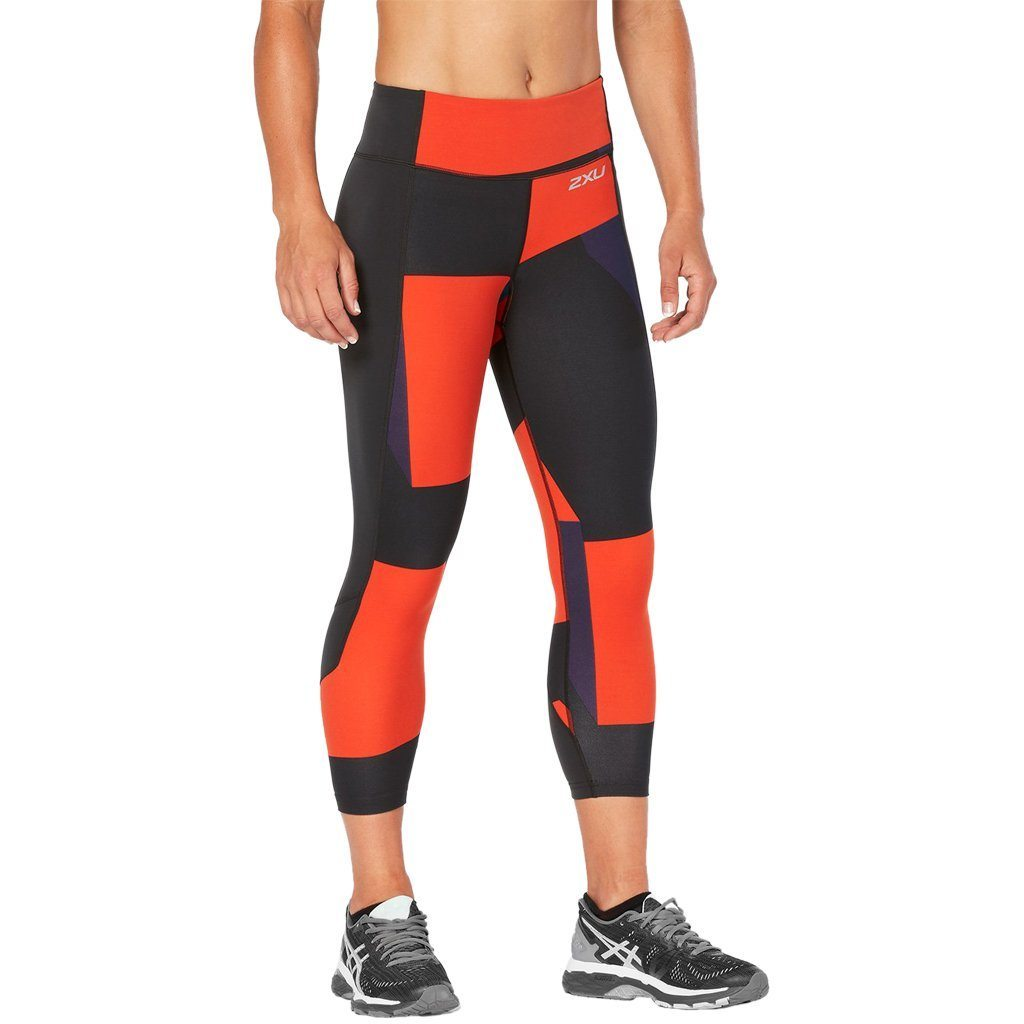 Leggings - 2XU Fitness Comp Tights Dark Charcoal / Tomato