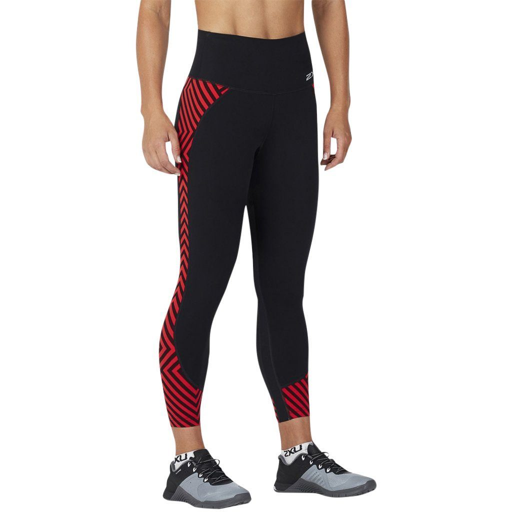 Leggings - 2XU Fitness Hi-Rise Comp 7/8 Tight Black/Black Tomato Maze