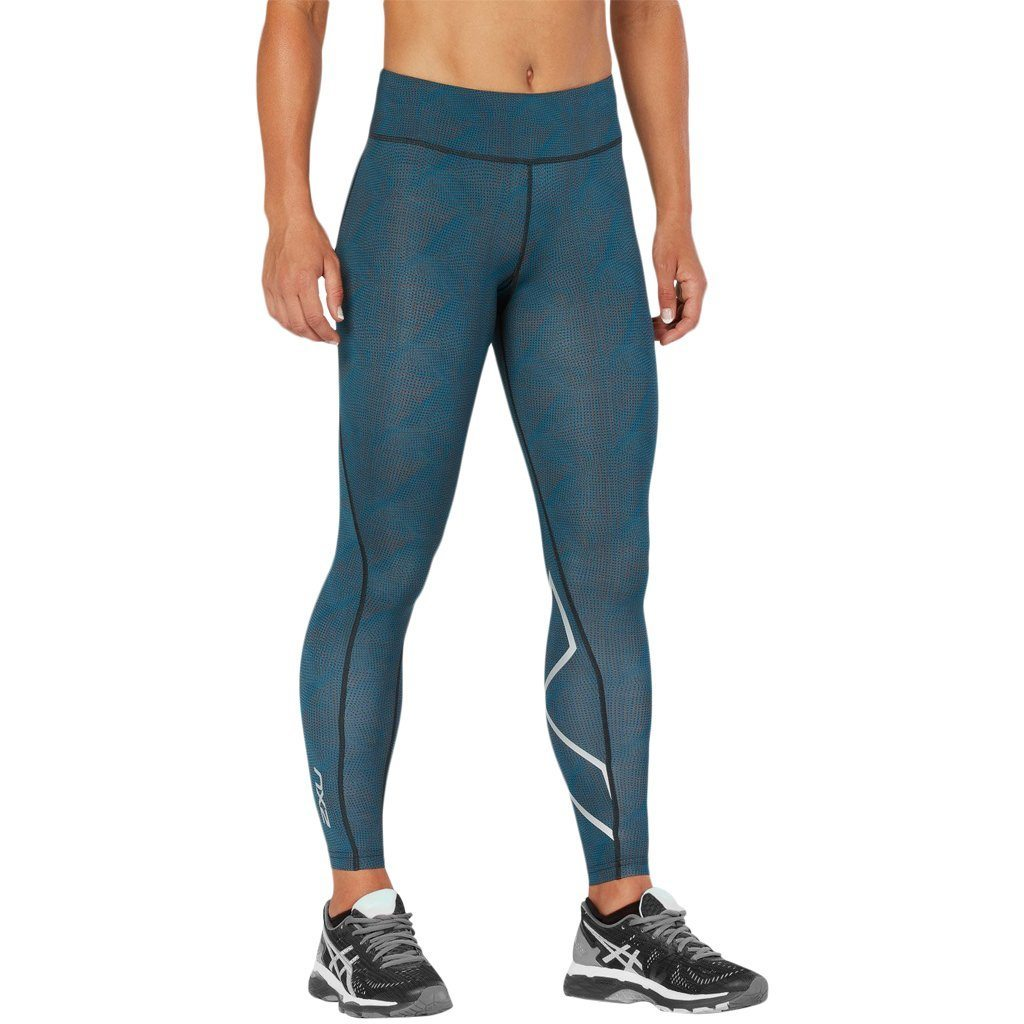 Leggings - 2XU Mid-Rise Print 7/8 Dark Charcoal Maroc Blue 3D Dots / Silver