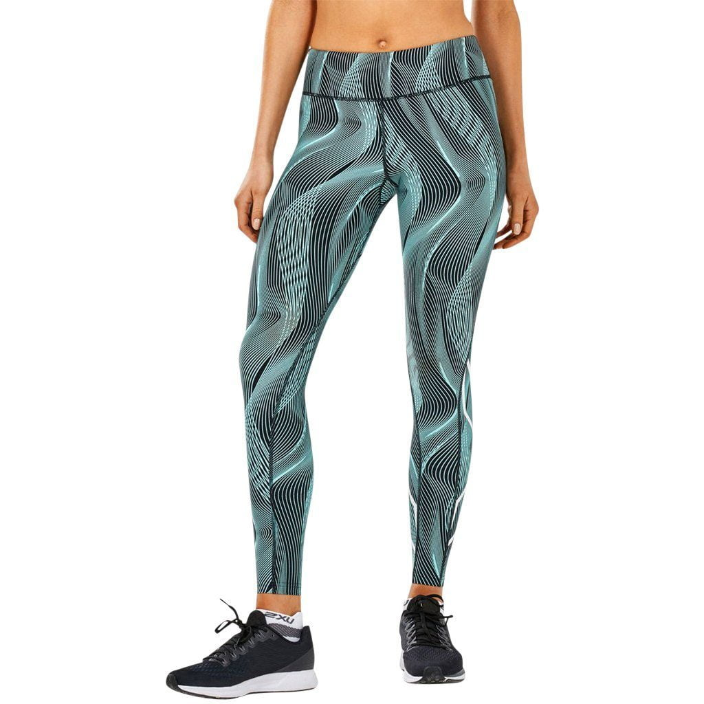 Leggings - 2XU Mid-Rise Print Tight W Storage Aruba Blue Vertical Curve/White