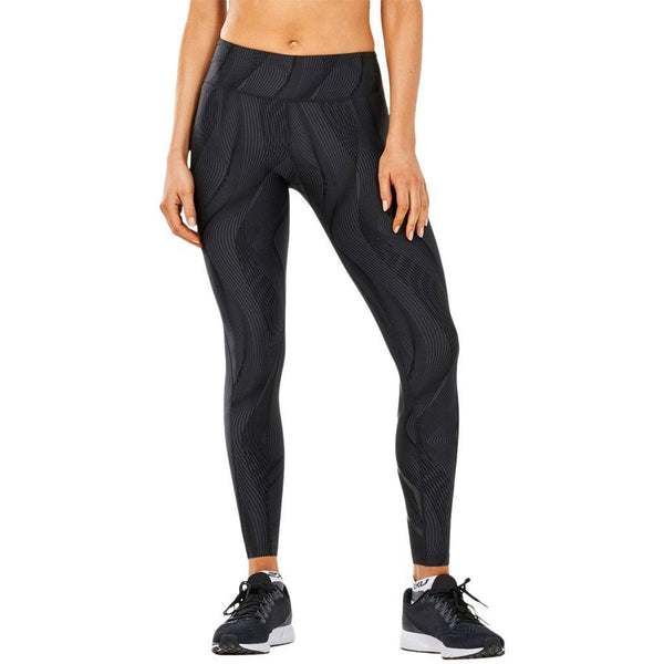 Leggings - 2XU Mid-Rise Print Tight W Storage Black Vertical Curve/Black