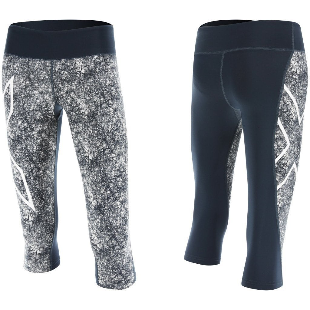 Leggings - 2XU PTN Mid-Rise Comp 3/4 Tights Ombre Blue / Vein Dense Pattern