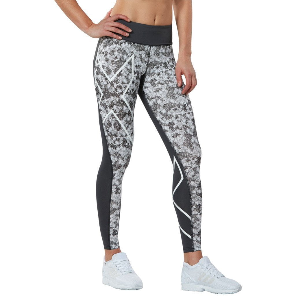 Leggings - 2XU PTN Mid-Rise Comp Tights Dark Charcoal/Prism Cloud White
