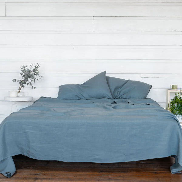Pure Linen Bed Sheet Set in Mountain Blue