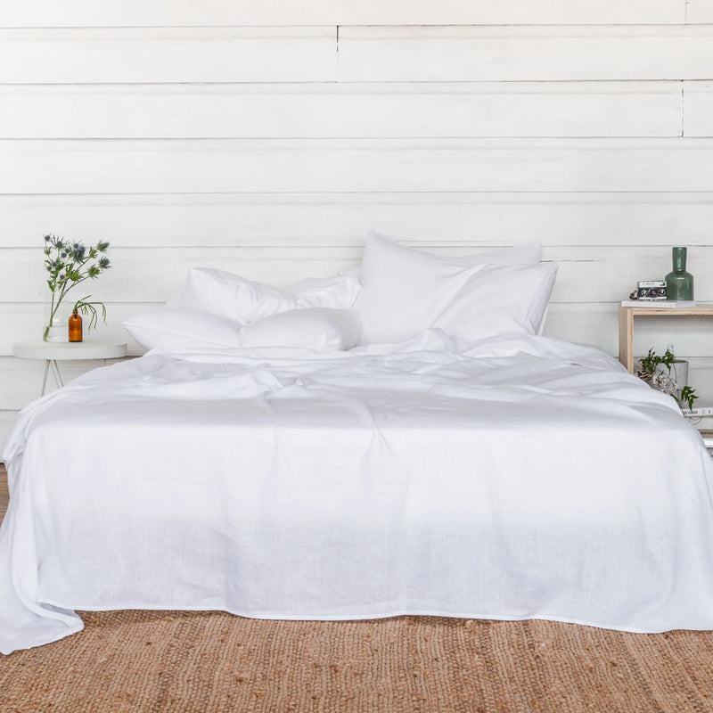 Pure Linen Bed Sheet Set in Polar White