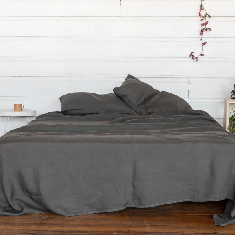 Pure Linen Bed Sheet Set in Storm Grey