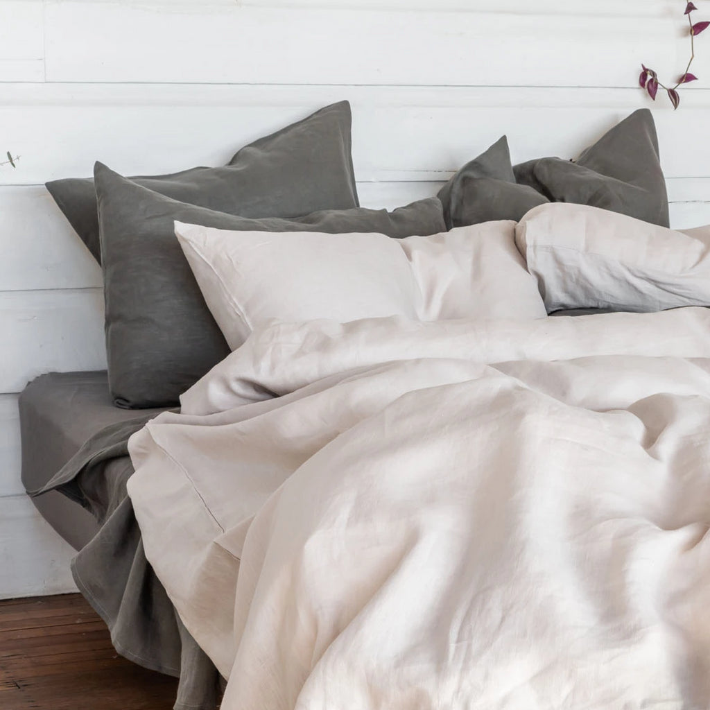 The Best Linen Is 100 Belgian Linen Bedding Duvet Cover Dark White
