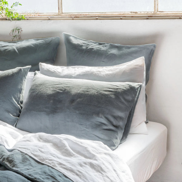 Linen Pillowcase Set - Glacier Green