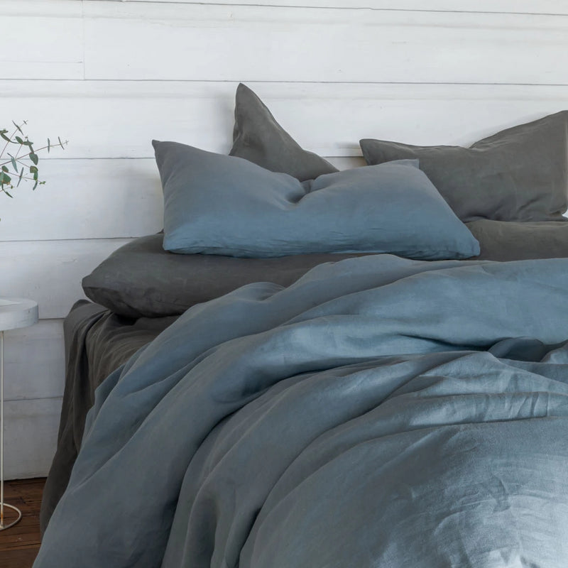Pure Linen bed Duvet Cover wth Grey Sheet Set