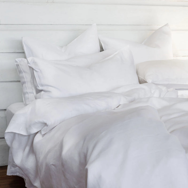Pure Linen bed Duvet Cover wth White Sheet Set