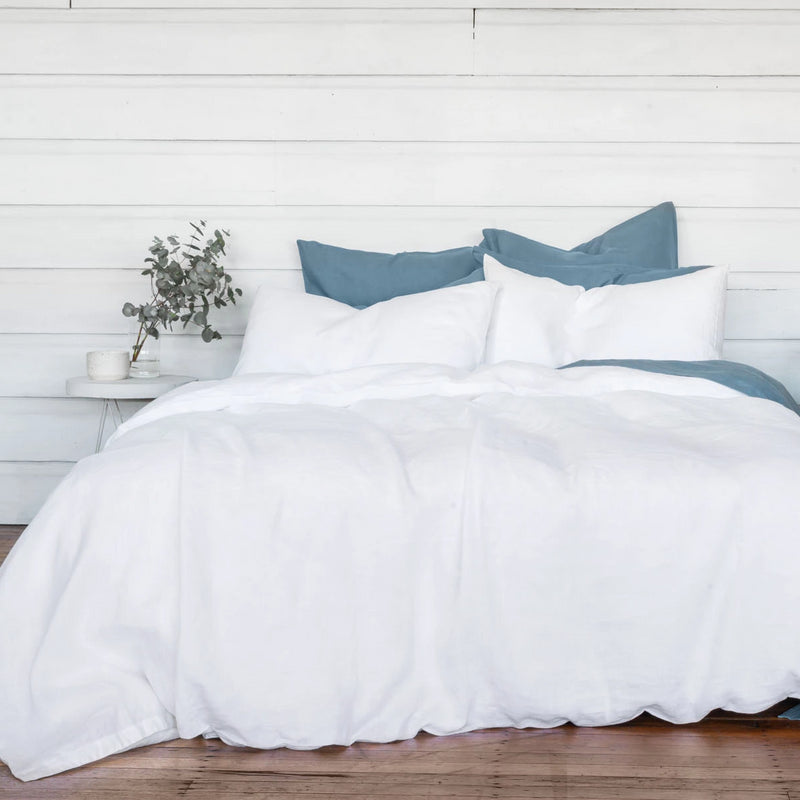 Pure Linen bed Duvet Cover wth Blue Sheet Set