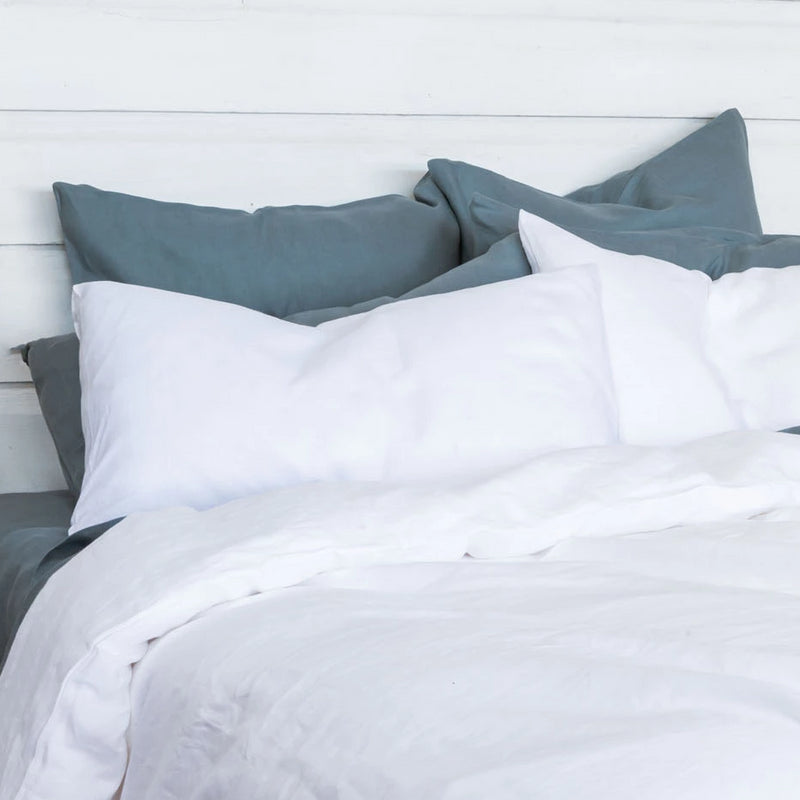 Linen Pillowcase Set - Mountain Blue