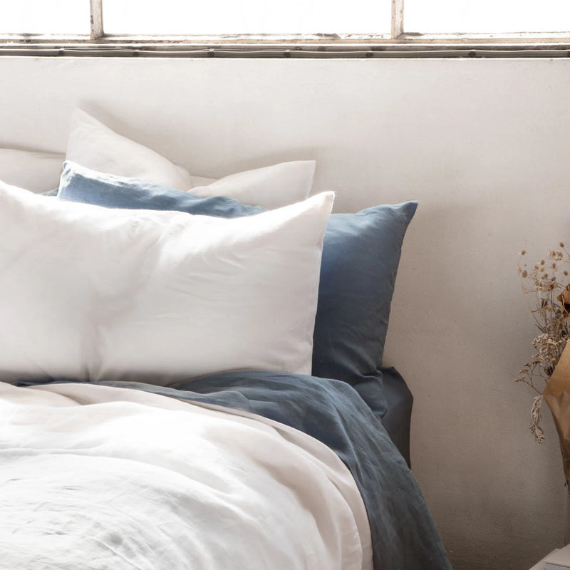 Pure Linen Bed Sheet Set in Mountain Blue with White Duvet Cover