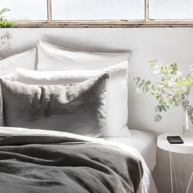 Pure Linen Bed Sheet Set in Polar White with Grey Duvet Cover