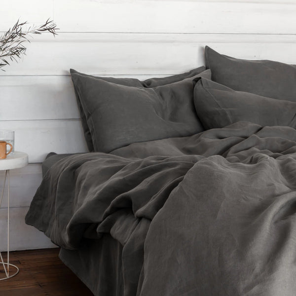 Pure Linen bed European Pillowcases Grey
