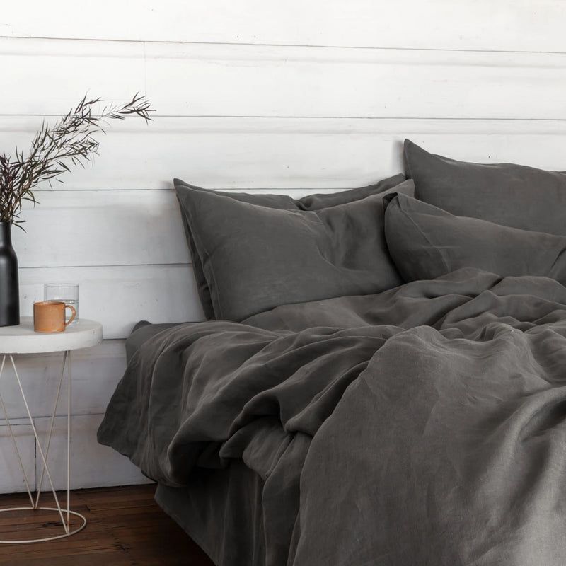 Pure Linen Bed Sheet Set in Storm Grey with Grey Duvet Cover