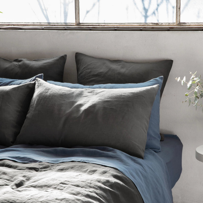 Pure Linen Bed Sheet Set in Mountain Blue with Grey Duvet Cover