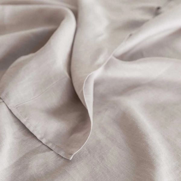 Pure Linen Bed Sheet Set in Grey