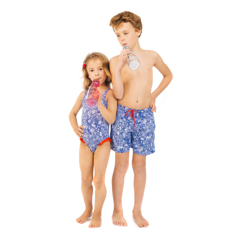 Blue and White Shell Swimsuit (3y-6y)