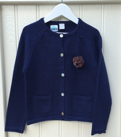 Girls Navy Blue Bobble Cardi