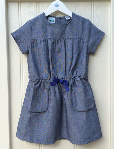 Chic Blue Bow Dress