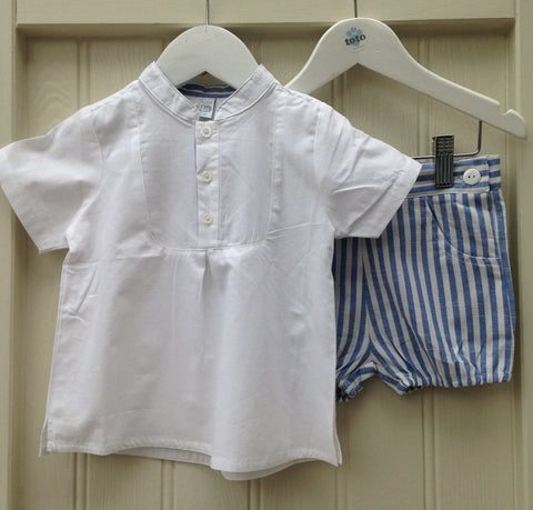 Blue Stripe Baby Shorts with Matching Mandarin Shirt