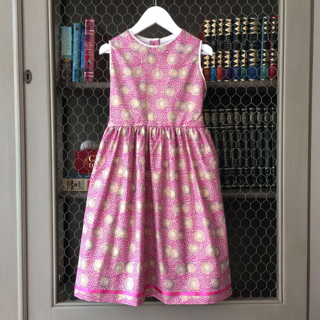 Pink Peony Dress with puff sleeves