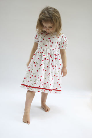 Cherry Dress with puffed sleeves