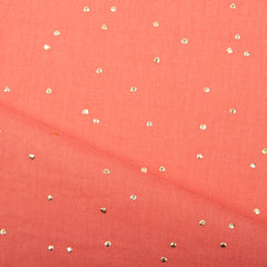 Double gaze corail plumetis lurex or