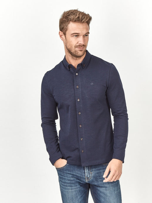 Mish Mash Beck Long Sleeve Polo Shirt Navy