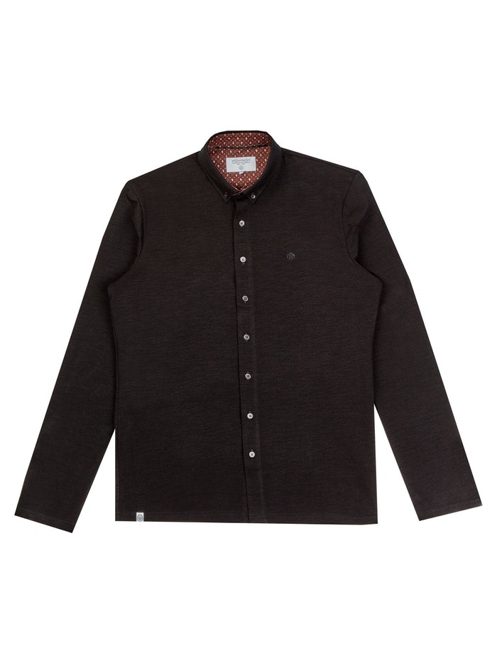Mish Mash Beck Long Sleeve Polo Shirt Black