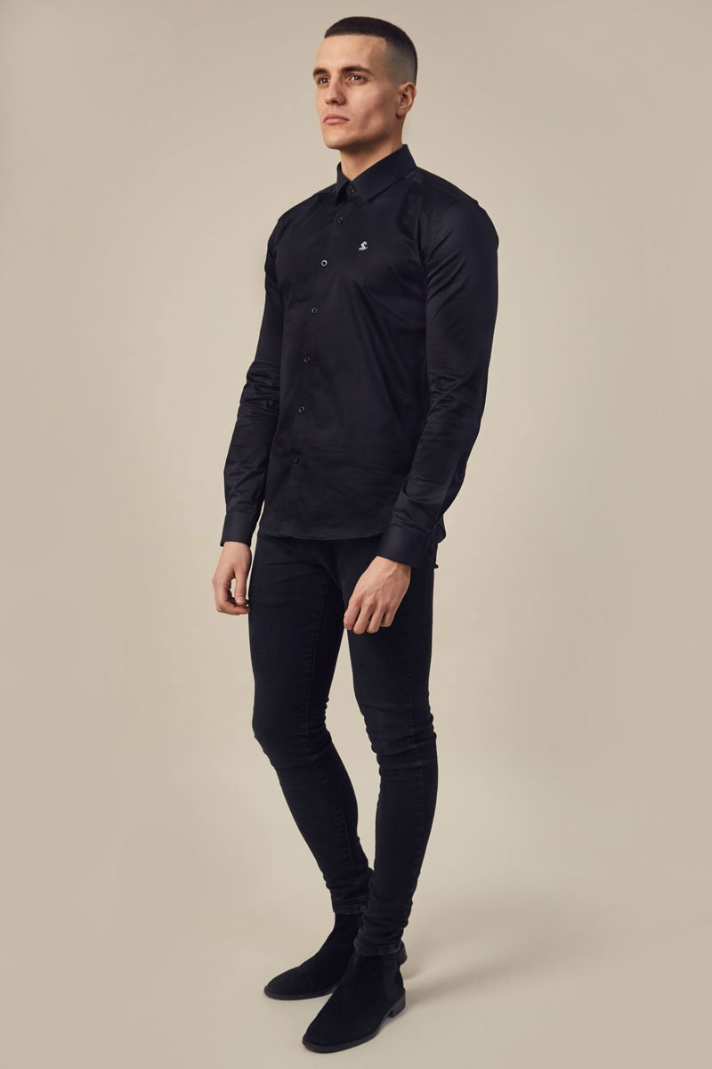 Lockstock Lock Shirt Long Sleeve Black/White