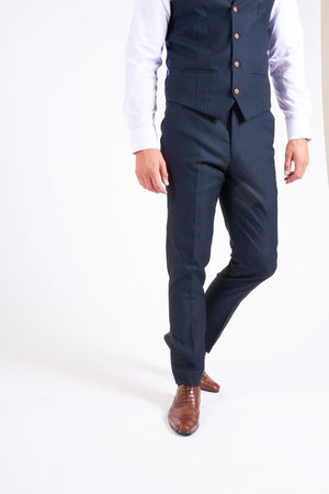 Marc Darcy Max - Navy Trouser With Contrast Buttons