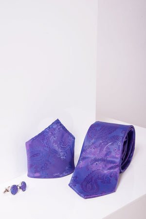 PAISLEY - Lilac Paisley Tie, Cufflink and Pocket Square Set