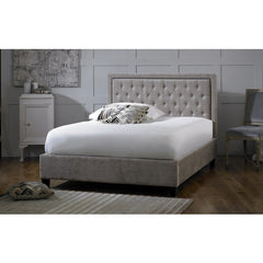 Rockford - Buttoned Headboard Bed - Silver