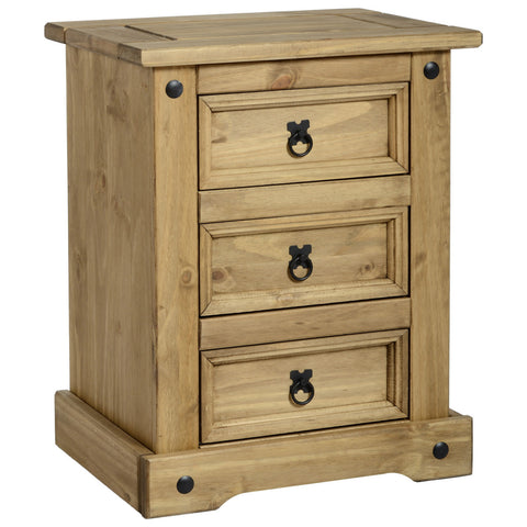 Picture of Corona - 3 Drawer Bedside - Pine