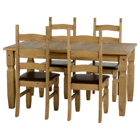 Picture of Corona - 5' Dining Set Padded Chairs - Pine