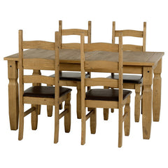 Corona - 5' Dining Set Padded Chairs - Pine
