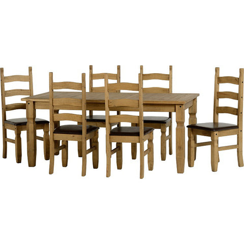 Picture of Corona - 6' Dining Set Padded Chairs - Pine