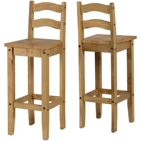 Picture of Corona - Pair of Bar Chairs - Pine