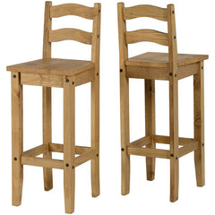 Corona - Pair of Bar Chairs - Pine