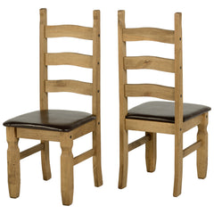 Corona - Pair of Padded Dining Chairs - Pine